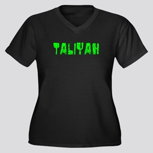 Taliyah Faded (Green) Women's Plus Size V-Neck Dar
