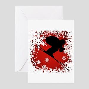 SKI DOWNHILL (RED) Greeting Card