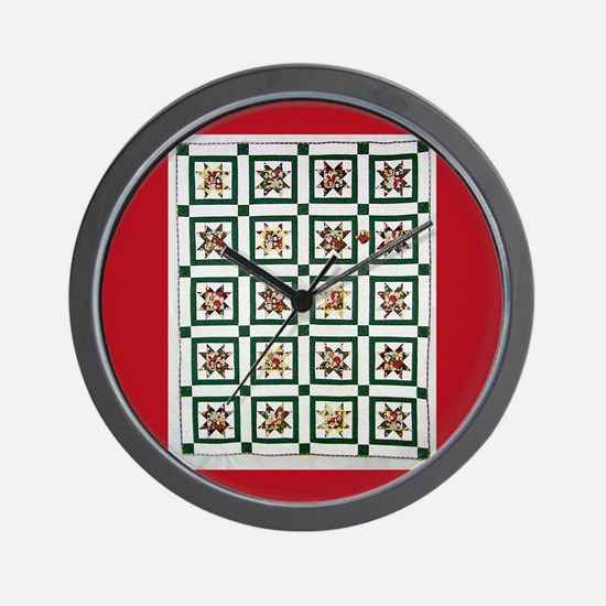 Christmas Holiday Quilt Wall Clock