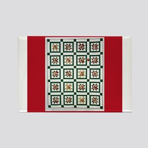Christmas Holiday Quilt Rectangle Magnet
