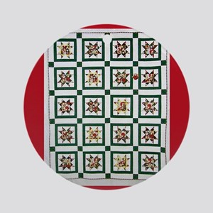 Christmas Holiday Quilt Ornament (Round)