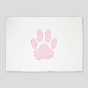Pink Paw With Halftones 5'x7'Area Rug