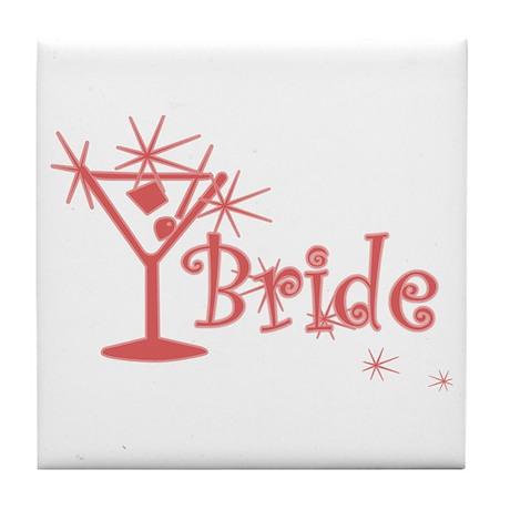 Red Curly Martini Bride Tile Coaster