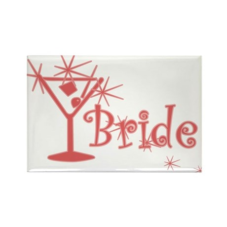 Red Curly Martini Bride Rectangle Magnet (10 pack)