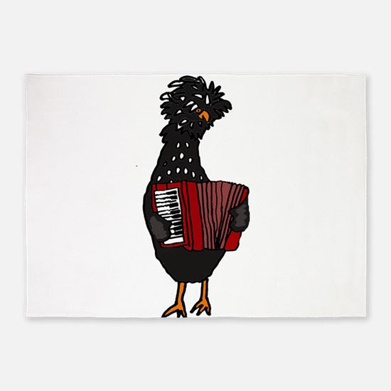 Chicken Playing Accordion 5'x7'Area Rug