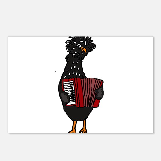 Chicken Playing Accordion Postcards (Package of 8)