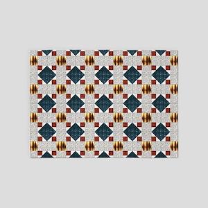 Album Block Quilt Pattern Blue Gold 5'x7'Area Rug