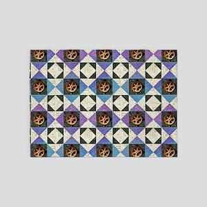 HOURGLASS BLOCK Purple & Blue w 5'x7'Area Rug