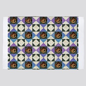 HOURGLASS BLOCK Purple & Blue with 4' x 6' Rug