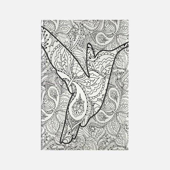 Cute Hummingbird coloring book Rectangle Magnet