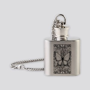 Butterfly Adult Coloring Book Flask Necklace