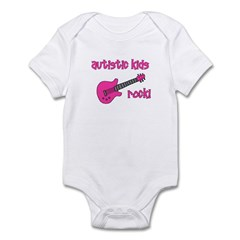 Autistic Kids Rock! Pink Guit Infant Bodysuit