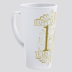 Elegant 10th Anniversary 17 oz Latte Mug