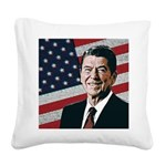 Patriotic President Reagan Square Canvas Pillow