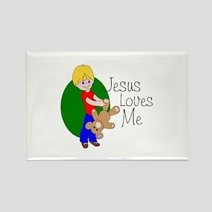 Jesus Loves Me Rectangle Magnet