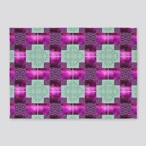 Purple and Green Modern Album Block 5'x7'Area Rug