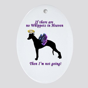 Whippet Angels Oval Ornament
