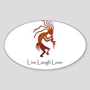 Kokopelli Live Laugh Love Oval Sticker
