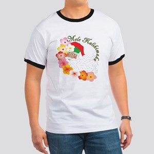 Santa Surrounded by Hibiscus Ringer T