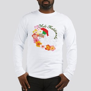 Santa Surrounded by Hibiscus Long Sleeve T-Shirt
