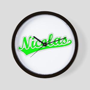 Retro Nicolas (Green) Wall Clock