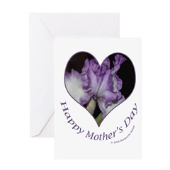 Purple Iris in Heart, Mother's Day Greeting Card