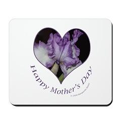 Purple Iris in Heart, Mother's Day Mousepad