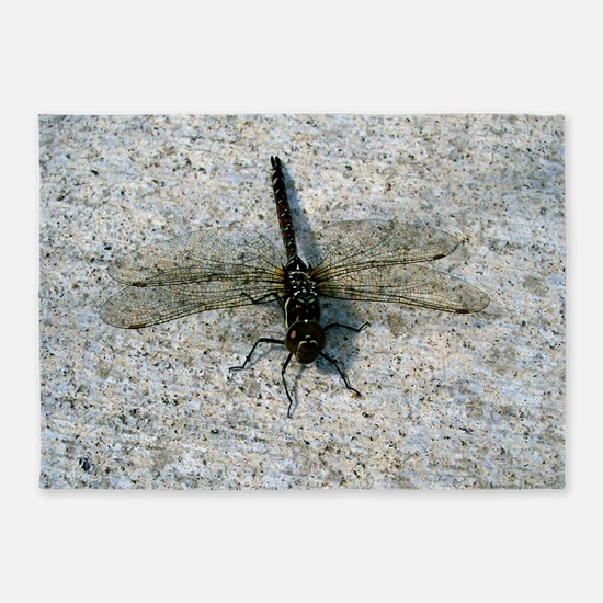 Black and Gold Dragonfly 5'x7'Area Rug