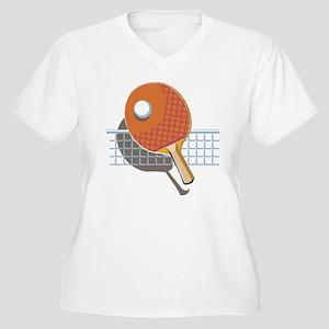 Table Tennis Women's Plus Size V-Neck T-Shirt