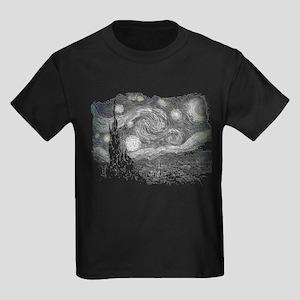 Starry starry Black and White Kids Dark T-Shirt