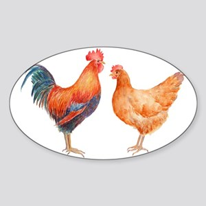 Watercolor Rooster and Hen Sticker