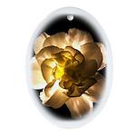 White Carnation Oval Ornament