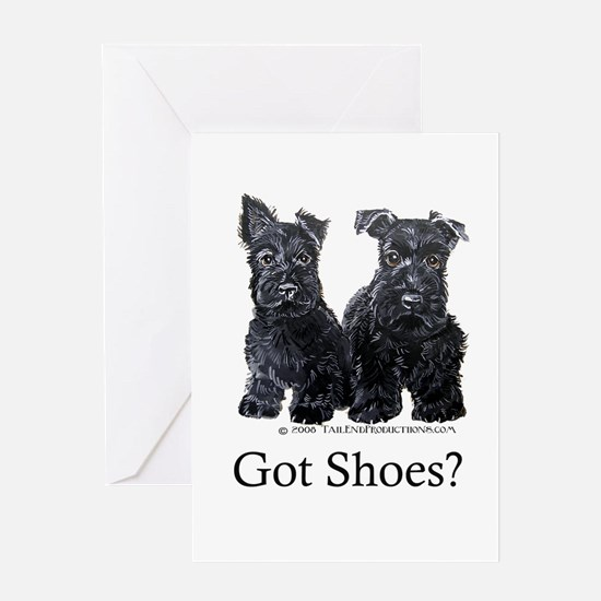 Scottie Puppies - Got Shoes Greeting Card