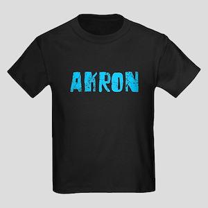 Akron Faded (Blue) Kids Dark T-Shirt