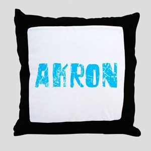 Akron Faded (Blue) Throw Pillow