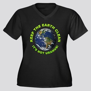 Keep the Earth Clean (Front) Women's Plus Size V-N