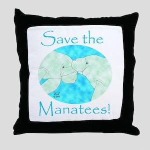Save the Manatees Throw Pillow