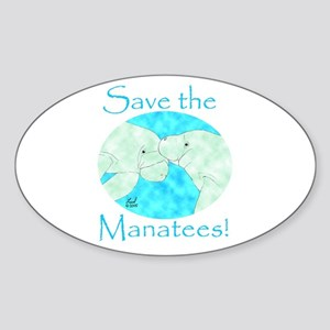 Save the Manatees Oval Sticker