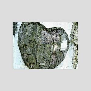 white birch tree heart 5'x7'Area Rug