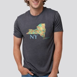 Map of New York State 7 T-Shirt