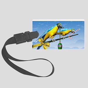 Macaw Birds Christmas Large Luggage Tag