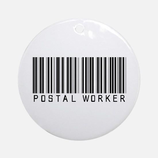 Postal Worker Barcode Ornament (Round)
