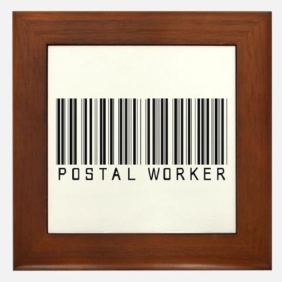 Postal Worker Barcode Framed Tile