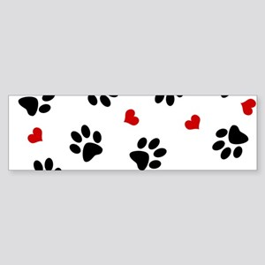 Paw Prints and Hearts Bumper Sticker