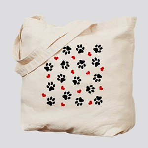 Paw Prints and Hearts Tote Bag