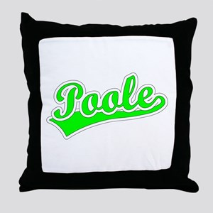 Retro Poole (Green) Throw Pillow