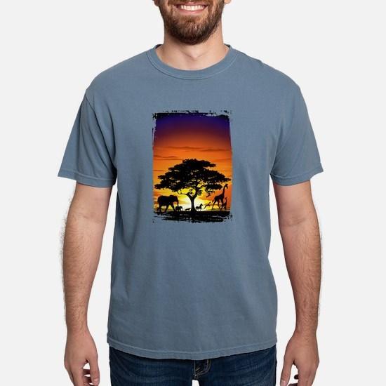 Wild Animals on African Savannah Sunset T-Shirt