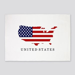 United States map with flag 5'x7'Area Rug