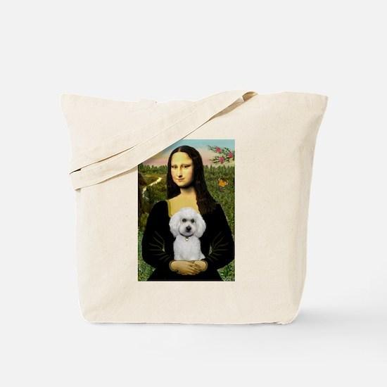 Mona & White Poodle Tote Bag