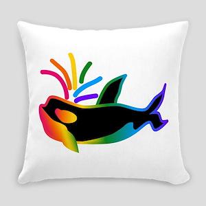 Rainbow Orca Everyday Pillow